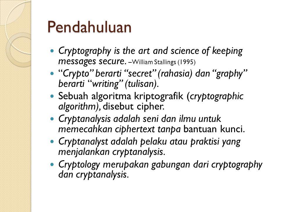 Prinsip Kriptografi Melindungi aspek-aspek berikut:  Confidentiality  Integrity  Availability  Authentication  Non-Repudiation