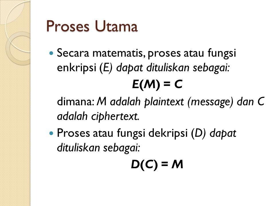 Proses Utama Secara matematis, proses atau fungsi enkripsi (E) dapat dituliskan sebagai: E(M) = C dimana: M adalah plaintext (message) dan C adalah ciphertext.