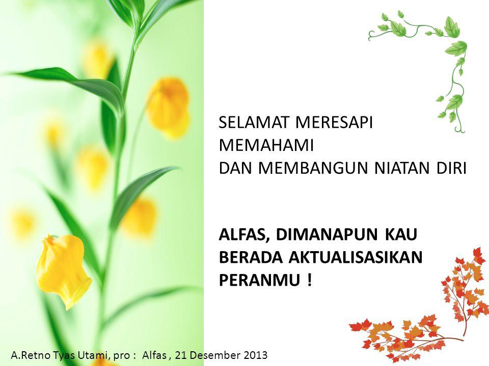 SELAMAT MERESAPI MEMAHAMI DAN MEMBANGUN NIATAN DIRI A.Retno Tyas Utami, pro : Alfas, 21 Desember 2013 ALFAS, DIMANAPUN KAU BERADA AKTUALISASIKAN PERANMU !
