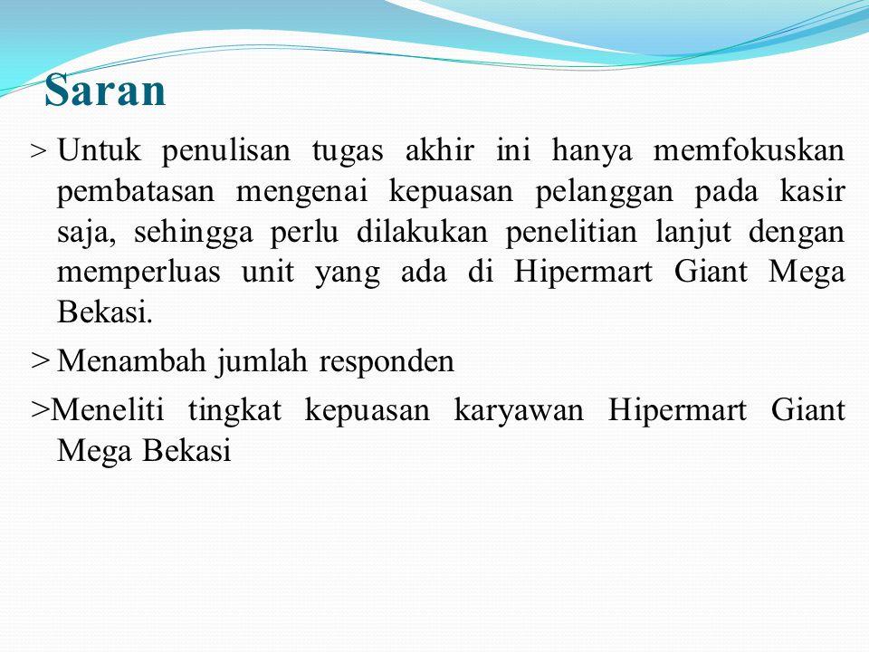 Saran > Untuk penulisan tugas akhir ini hanya memfokuskan pembatasan mengenai kepuasan pelanggan pada kasir saja, sehingga perlu dilakukan penelitian lanjut dengan memperluas unit yang ada di Hipermart Giant Mega Bekasi.
