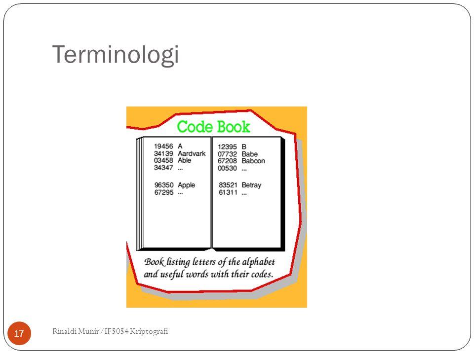 Terminologi Rinaldi Munir/IF5054 Kriptografi 17