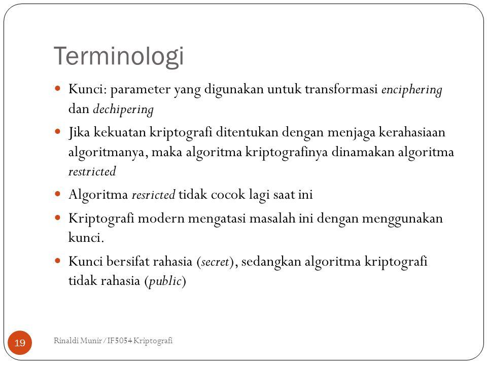 Terminologi Rinaldi Munir/IF5054 Kriptografi 19 Kunci: parameter yang digunakan untuk transformasi enciphering dan dechipering Jika kekuatan kriptogra
