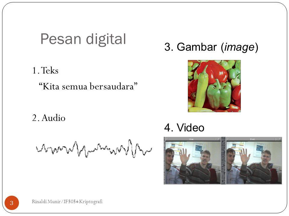 """Pesan digital 1. Teks """"Kita semua bersaudara"""" 2. Audio Rinaldi Munir/IF5054 Kriptografi 3 3. Gambar (image) 4. Video"""