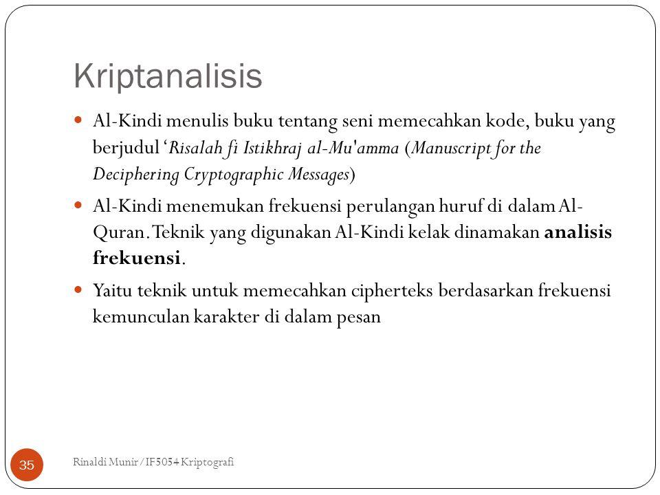 Kriptanalisis Rinaldi Munir/IF5054 Kriptografi 35 Al-Kindi menulis buku tentang seni memecahkan kode, buku yang berjudul 'Risalah fi Istikhraj al-Mu amma (Manuscript for the Deciphering Cryptographic Messages) Al-Kindi menemukan frekuensi perulangan huruf di dalam Al- Quran.