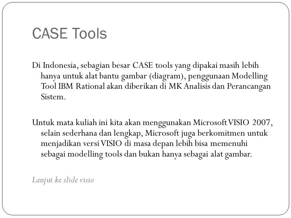 CASE Tools Di Indonesia, sebagian besar CASE tools yang dipakai masih lebih hanya untuk alat bantu gambar (diagram), penggunaan Modelling Tool IBM Rational akan diberikan di MK Analisis dan Perancangan Sistem.