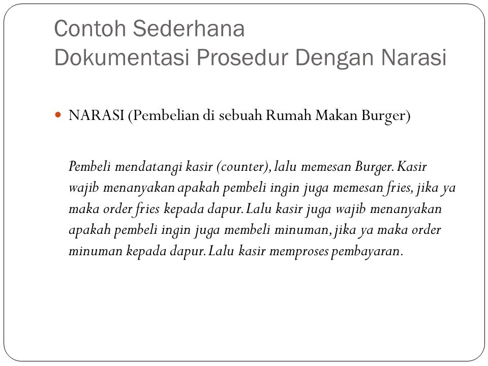 Contoh Sederhana Dokumentasi Prosedur Dengan Narasi NARASI (Pembelian di sebuah Rumah Makan Burger) Pembeli mendatangi kasir (counter), lalu memesan Burger.