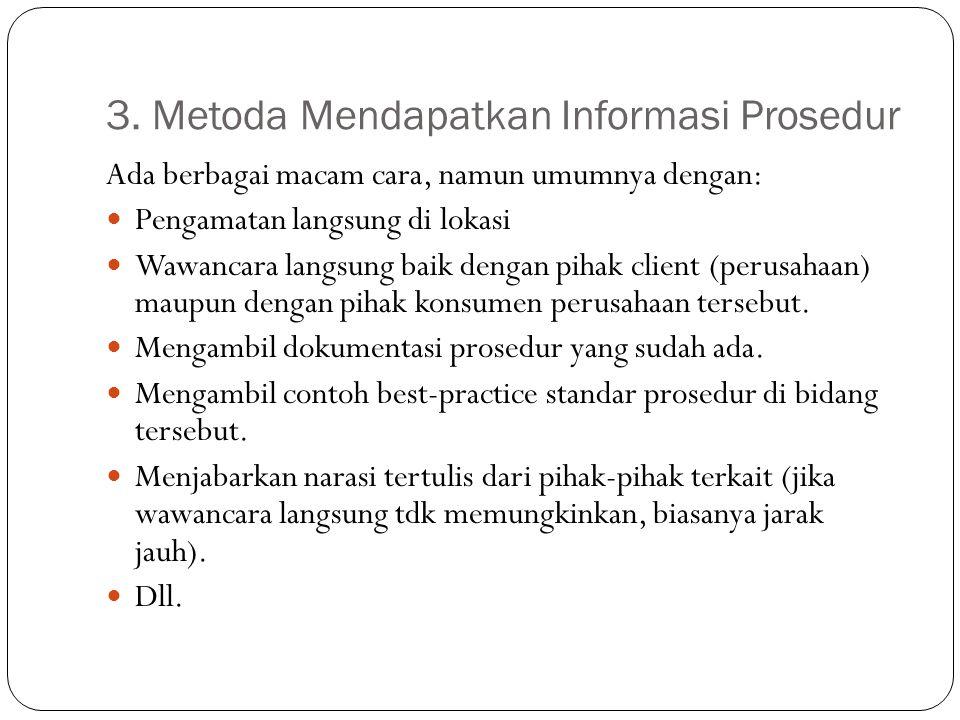 3. Metoda Mendapatkan Informasi Prosedur Ada berbagai macam cara, namun umumnya dengan: Pengamatan langsung di lokasi Wawancara langsung baik dengan p