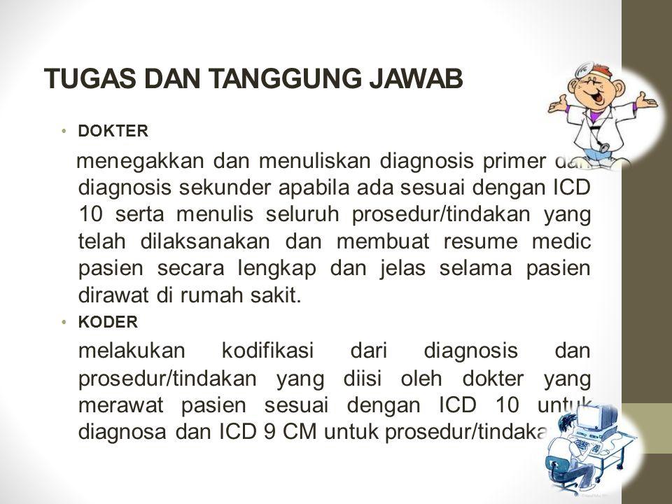 TUGAS DAN TANGGUNG JAWAB DOKTER menegakkan dan menuliskan diagnosis primer dan diagnosis sekunder apabila ada sesuai dengan ICD 10 serta menulis selur