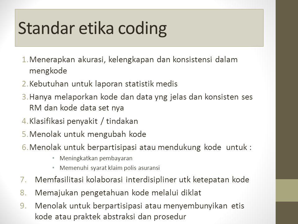 Standar etika coding 1.Menerapkan akurasi, kelengkapan dan konsistensi dalam mengkode 2.Kebutuhan untuk laporan statistik medis 3.Hanya melaporkan kode dan data yng jelas dan konsisten ses RM dan kode data set nya 4.Klasifikasi penyakit / tindakan 5.Menolak untuk mengubah kode 6.Menolak untuk berpartisipasi atau mendukung kode untuk : Meningkatkan pembayaran Memenuhi syarat klaim polis asuransi 7.Memfasilitasi kolaborasi interdisipliner utk ketepatan kode 8.Memajukan pengetahuan kode melalui diklat 9.Menolak untuk berpartisipasi atau menyembunyikan etis kode atau praktek abstraksi dan prosedur 10.Melindungi kerahasiaan RM dan menolak akses Infokes 11.Berperilaku profesional menjujung etis kode