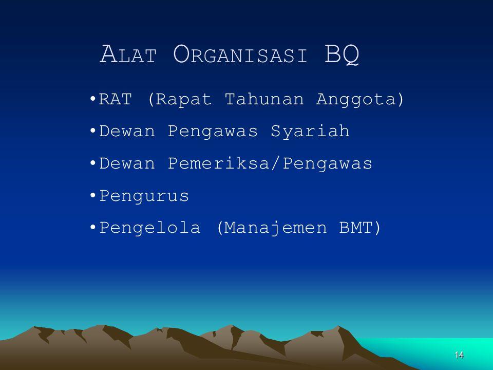 14 A LAT O RGANISASI BQ RAT (Rapat Tahunan Anggota) Dewan Pengawas Syariah Dewan Pemeriksa/Pengawas Pengurus Pengelola (Manajemen BMT)