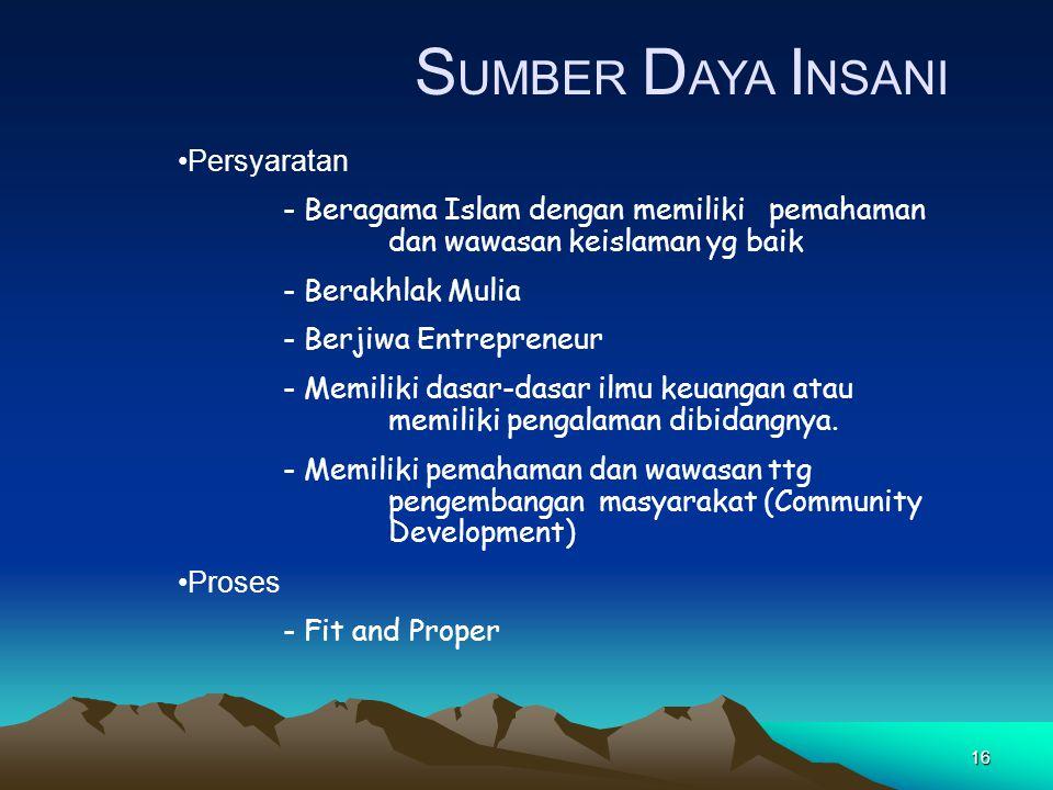 16 S UMBER D AYA I NSANI Persyaratan - Beragama Islam dengan memiliki pemahaman dan wawasan keislaman yg baik - Berakhlak Mulia - Berjiwa Entrepreneur