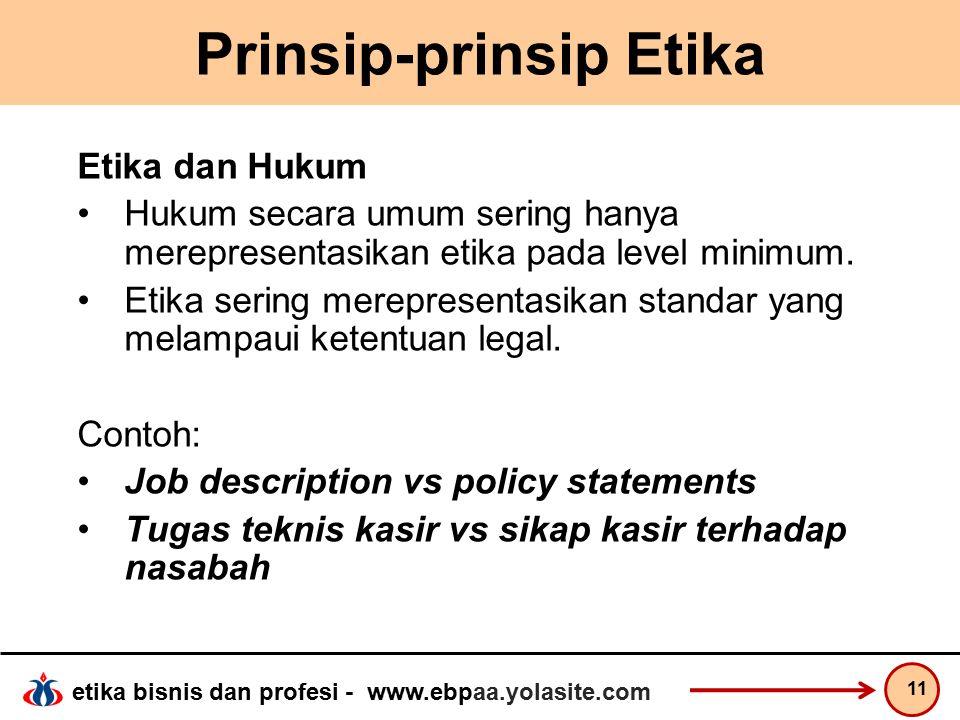 etika bisnis dan profesi - www.ebpaa.yolasite.com Prinsip-prinsip Etika Etika dan Hukum Hukum secara umum sering hanya merepresentasikan etika pada level minimum.