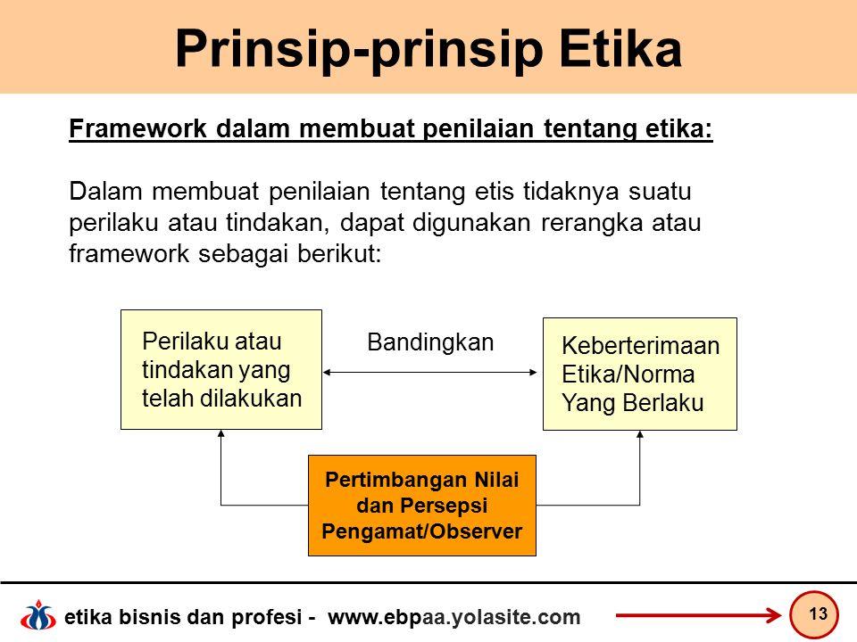 etika bisnis dan profesi - www.ebpaa.yolasite.com Prinsip-prinsip Etika 13 Perilaku atau tindakan yang telah dilakukan Keberterimaan Etika/Norma Yang Berlaku Pertimbangan Nilai dan Persepsi Pengamat/Observer Bandingkan Framework dalam membuat penilaian tentang etika: Dalam membuat penilaian tentang etis tidaknya suatu perilaku atau tindakan, dapat digunakan rerangka atau framework sebagai berikut: