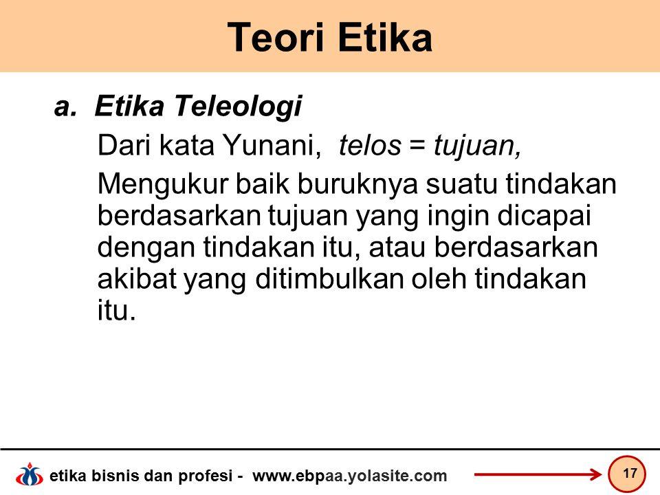 etika bisnis dan profesi - www.ebpaa.yolasite.com Teori Etika a.