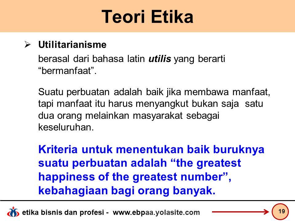 etika bisnis dan profesi - www.ebpaa.yolasite.com Teori Etika  Utilitarianisme berasal dari bahasa latin utilis yang berarti bermanfaat .