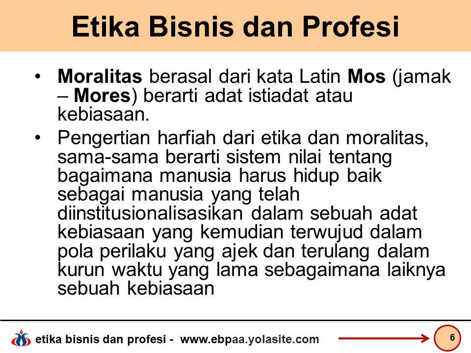 etika bisnis dan profesi - www.ebpaa.yolasite.com Etika Bisnis dan Profesi Norma  memberi pedoman tentang bagaimana kita harus hidup dan bertindak secara baik dan tepat, sekaligus menjadi dasar bagi penilaian mengenai baik buruknya perilaku dan tindakan kita.