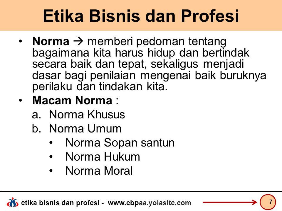 etika bisnis dan profesi - www.ebpaa.yolasite.com Dilema Etika Kohlberg menawarkan 3 level framework Preconventional Level terendah pengembangan etika moral; berhubungan dengan penghargaan dan hukuman/sanksi.
