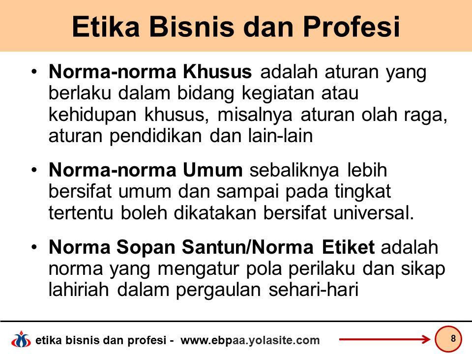 etika bisnis dan profesi - www.ebpaa.yolasite.com Etika Bisnis dan Profesi Norma Hukum adalah norma yang dituntut keberlakuannya secara tegas oleh masyarakat karena dianggap penting demi keselamatan dan kesejahteraan manusia dalam kehidupan bermasyarakat.