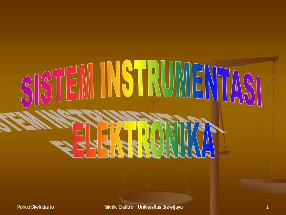 Ponco SiwindartoTeknik Elektro - Universitas Brawijaya22 Konstansta waktu  Untuk t =  Untuk t =   Keluaran berubah 63% dari total perubahan  Keluaran dianggap telah mencapai nilai akhir pada t = 5 