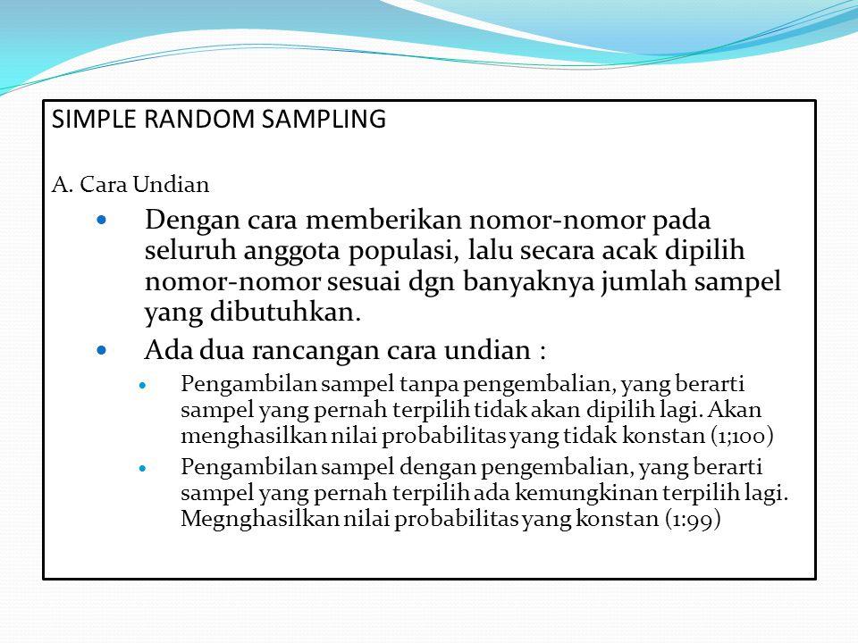 SIMPLE RANDOM SAMPLING A. Cara Undian Dengan cara memberikan nomor-nomor pada seluruh anggota populasi, lalu secara acak dipilih nomor-nomor sesuai dg