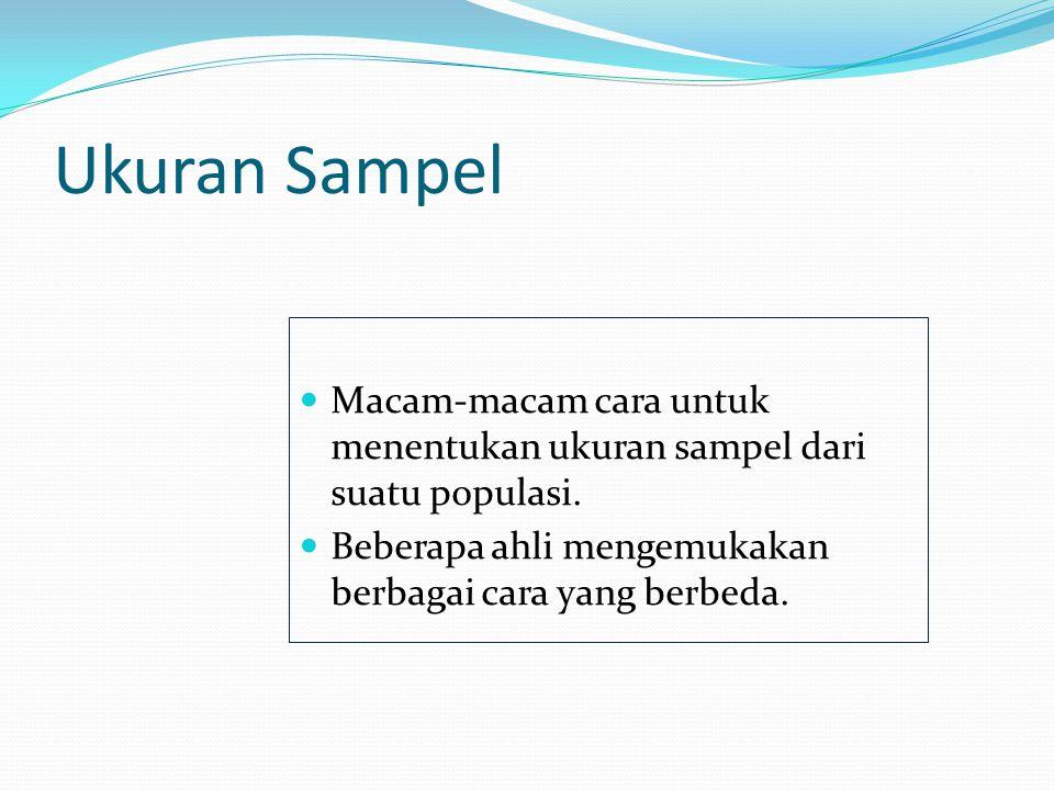 Ukuran Sampel Macam-macam cara untuk menentukan ukuran sampel dari suatu populasi. Beberapa ahli mengemukakan berbagai cara yang berbeda.