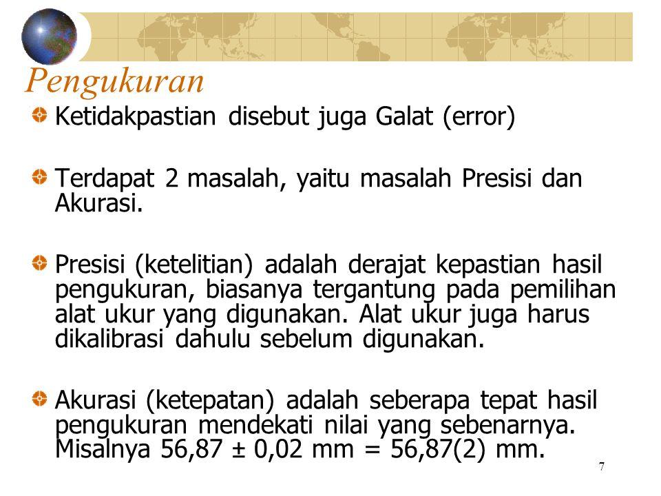 7 Pengukuran Ketidakpastian disebut juga Galat (error) Terdapat 2 masalah, yaitu masalah Presisi dan Akurasi. Presisi (ketelitian) adalah derajat kepa