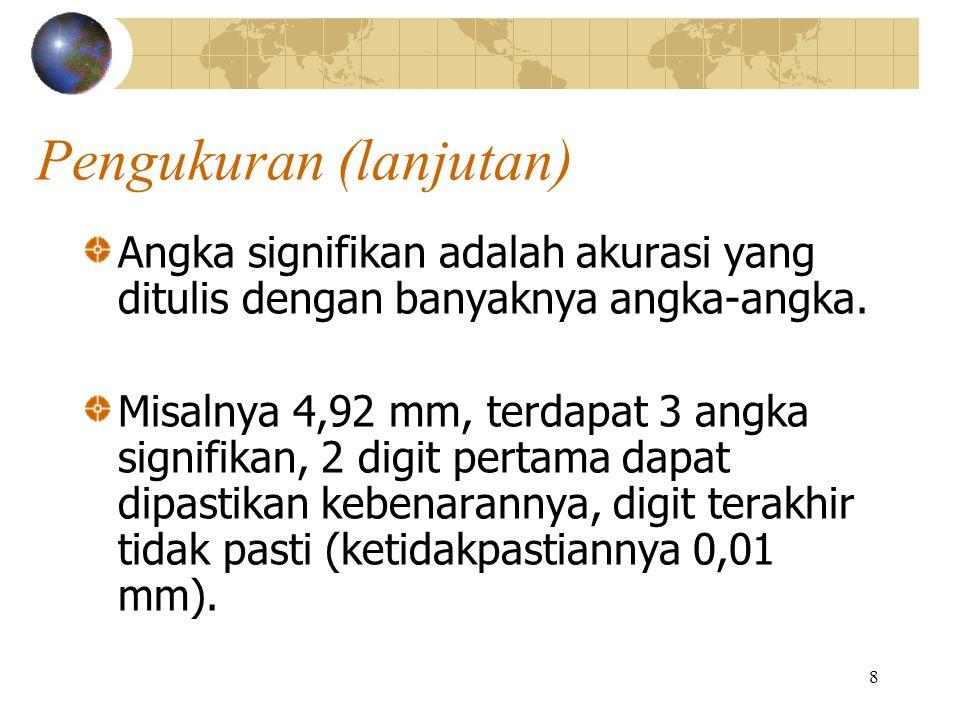 8 Pengukuran (lanjutan) Angka signifikan adalah akurasi yang ditulis dengan banyaknya angka-angka. Misalnya 4,92 mm, terdapat 3 angka signifikan, 2 di