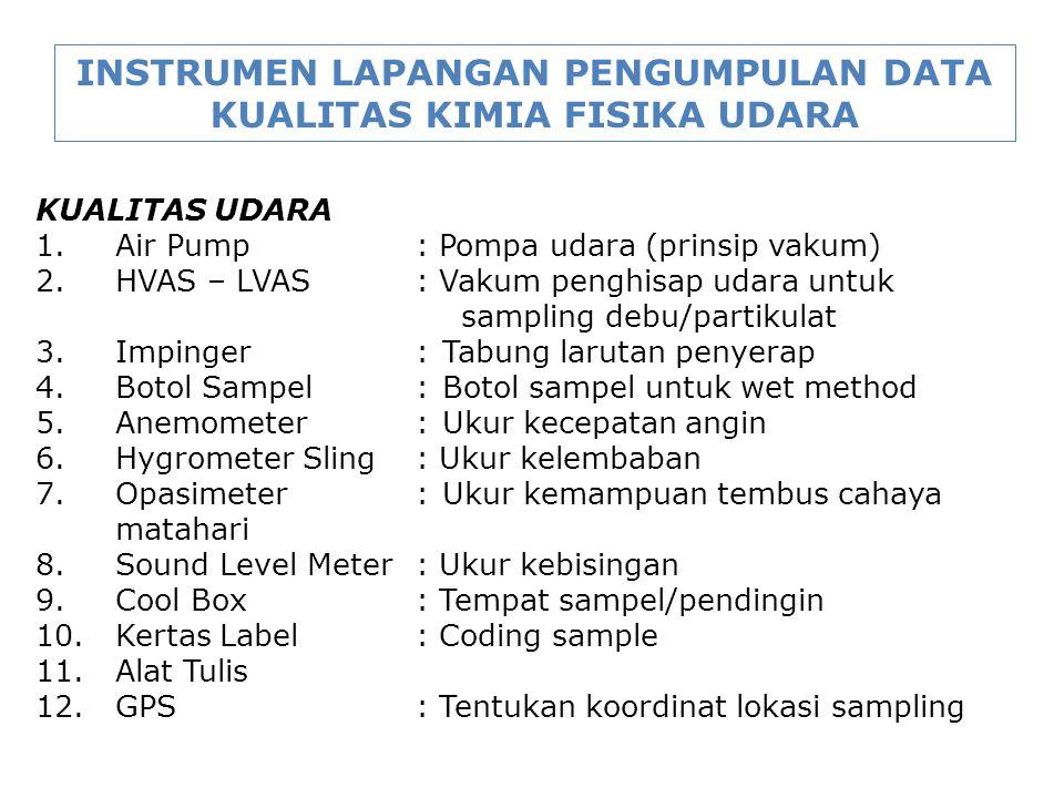 INSTRUMEN LAPANGAN PENGUMPULAN DATA KUALITAS KIMIA FISIKA UDARA KUALITAS UDARA 1. Air Pump: Pompa udara (prinsip vakum) 2. HVAS – LVAS: Vakum penghisa