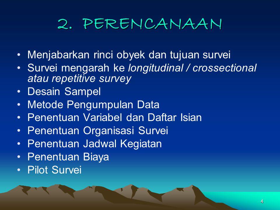 4 2. PERENCANAAN Menjabarkan rinci obyek dan tujuan survei Survei mengarah ke longitudinal / crossectional atau repetitive survey Desain Sampel Metode