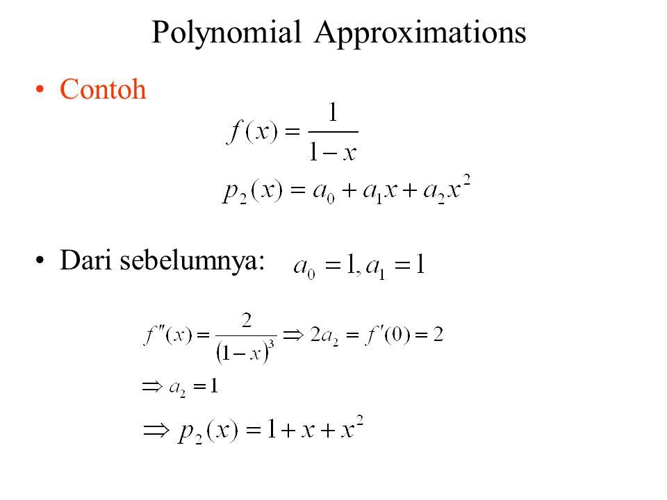 Polynomial Approximations Contoh Dari sebelumnya: