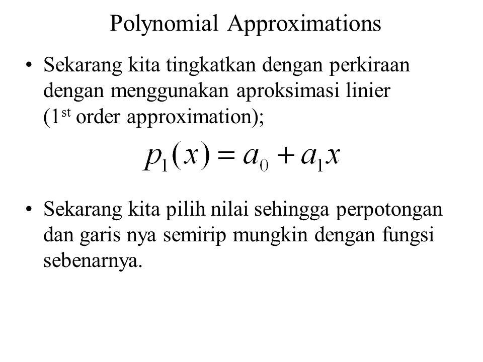 Polynomial Approximations Sekarang kita tingkatkan dengan perkiraan dengan menggunakan aproksimasi linier (1 st order approximation); Sekarang kita pi