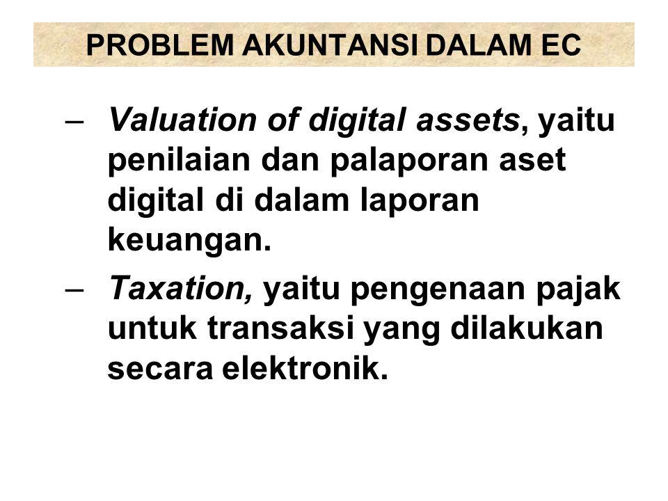 PROBLEM AKUNTANSI DALAM EC –Valuation of digital assets, yaitu penilaian dan palaporan aset digital di dalam laporan keuangan. –Taxation, yaitu pengen