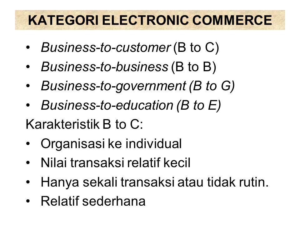 KATEGORI ELECTRONIC COMMERCE Karakteristik B to B, B to G, B to E: Transaksi antar organisasi Nilai transaksi relatif besar Transaksi bersifat permanen atau rutin Fasilitas kredit dari penjual ke pembeli Transaksi lebih komplek