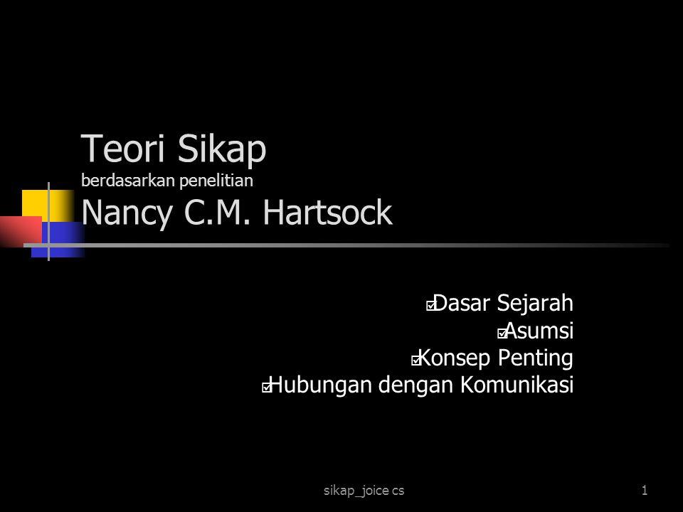 sikap_joice cs1 Teori Sikap berdasarkan penelitian Nancy C.M. Hartsock  Dasar Sejarah  Asumsi  Konsep Penting  Hubungan dengan Komunikasi