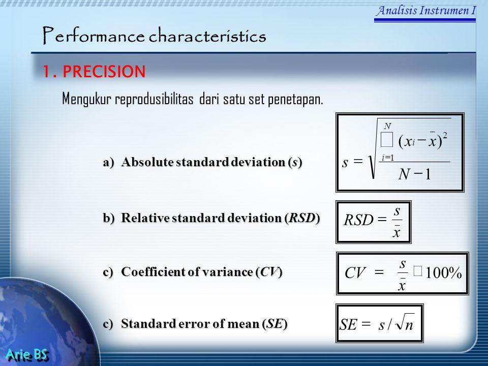 Analisis Instrumen I Arie BS Performance characteristics 1.