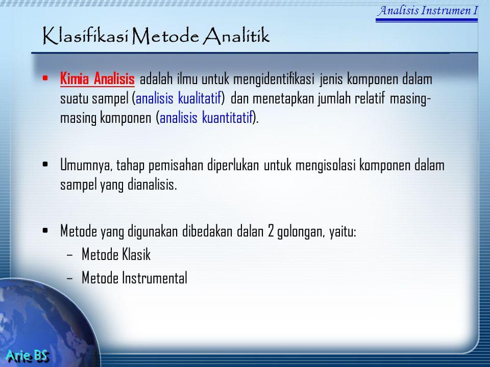 Klasifikasi Metode Analitik Kimia Analisis adalah ilmu untuk mengidentifikasi jenis komponen dalam suatu sampel (analisis kualitatif) dan menetapkan jumlah relatif masing- masing komponen (analisis kuantitatif).