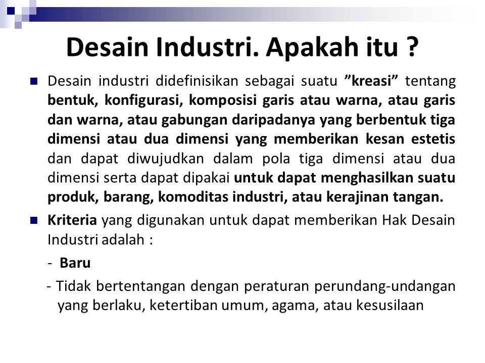 """Desain Industri. Apakah itu ? Desain industri didefinisikan sebagai suatu """"kreasi"""" tentang bentuk, konfigurasi, komposisi garis atau warna, atau garis"""