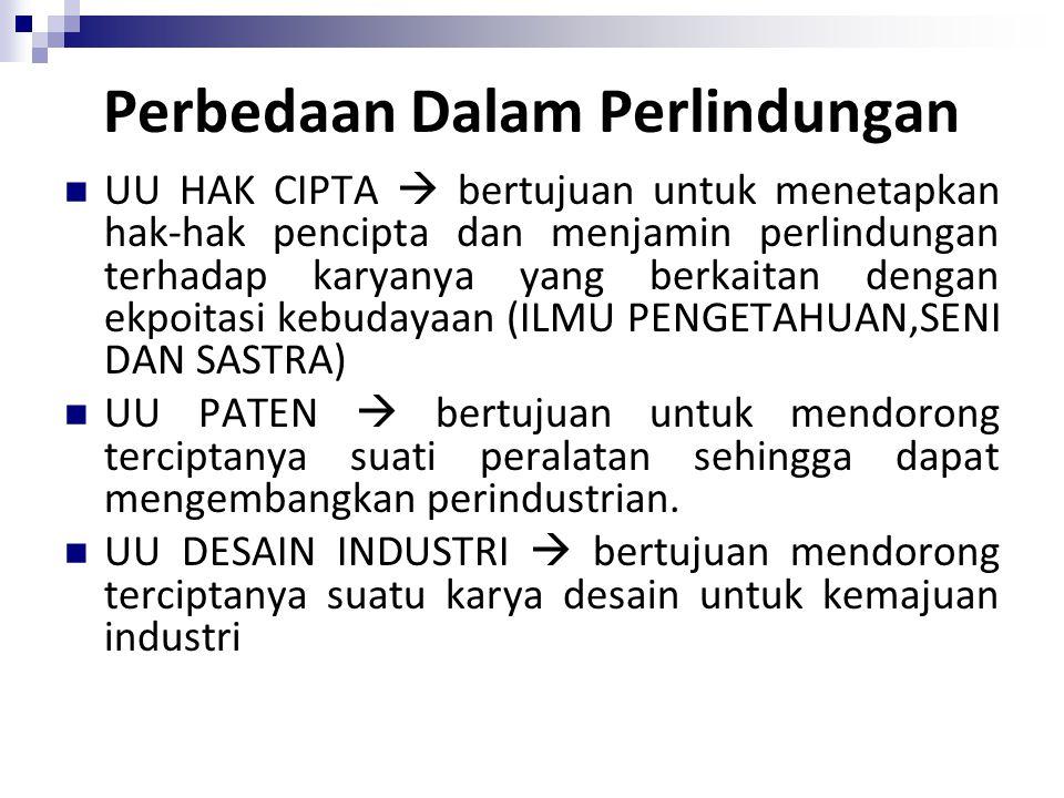 Perbedaan Dalam Perlindungan UU HAK CIPTA  bertujuan untuk menetapkan hak-hak pencipta dan menjamin perlindungan terhadap karyanya yang berkaitan den