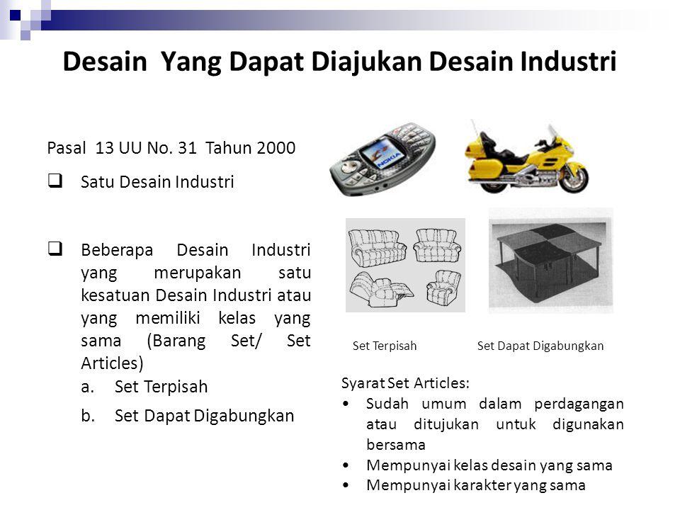 Desain Yang Dapat Diajukan Desain Industri Pasal 13 UU No. 31 Tahun 2000  Satu Desain Industri  Beberapa Desain Industri yang merupakan satu kesatua