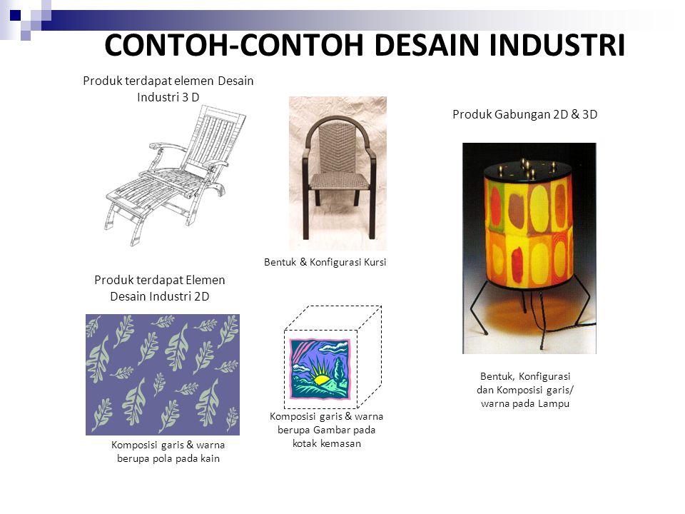 CONTOH-CONTOH DESAIN INDUSTRI Produk terdapat elemen Desain Industri 3 D Produk terdapat Elemen Desain Industri 2D Produk Gabungan 2D & 3D Bentuk & Ko
