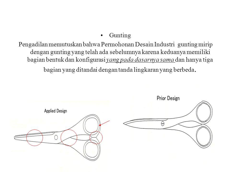 30 Gunting Pengadilan memutuskan bahwa Permohonan Desain Industri gunting mirip dengan gunting yang telah ada sebelumnya karena keduanya memiliki bagian bentuk dan konfigurasi yang pada dasarnya sama dan hanya tiga bagian yang ditandai dengan tanda lingkaran yang berbeda.