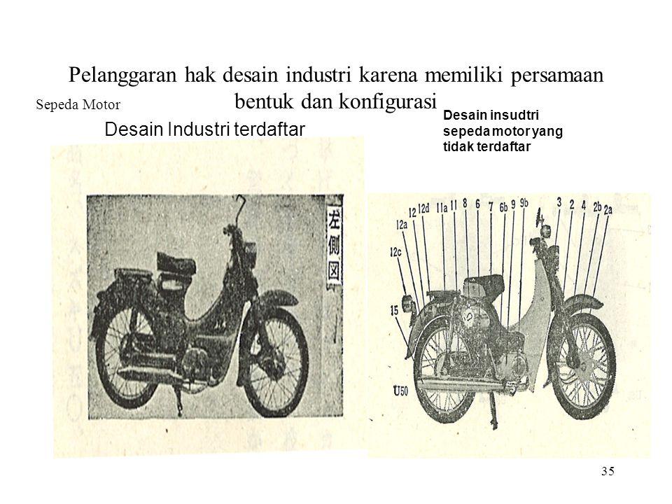 35 Pelanggaran hak desain industri karena memiliki persamaan bentuk dan konfigurasi Sepeda Motor Desain Industri terdaftar Desain insudtri sepeda motor yang tidak terdaftar