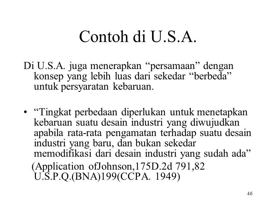 46 Contoh di U.S.A. Di U.S.A.