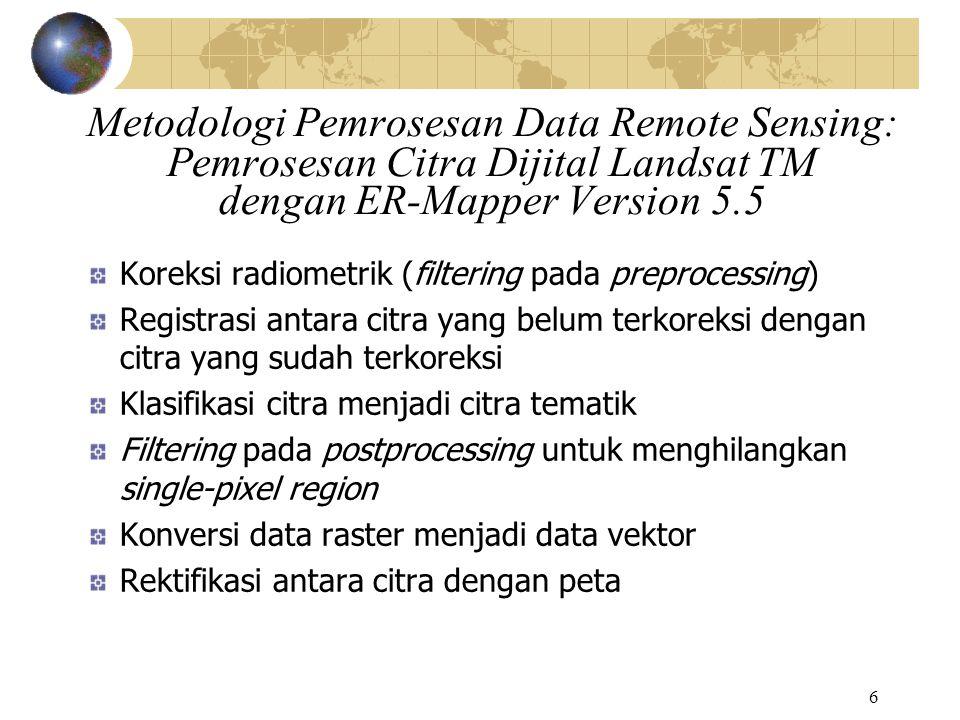 6 Metodologi Pemrosesan Data Remote Sensing: Pemrosesan Citra Dijital Landsat TM dengan ER-Mapper Version 5.5 Koreksi radiometrik (filtering pada prep