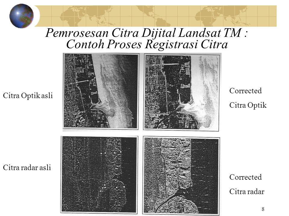 8 Pemrosesan Citra Dijital Landsat TM : Contoh Proses Registrasi Citra Corrected Citra Optik Corrected Citra radar Citra Optik asli Citra radar asli