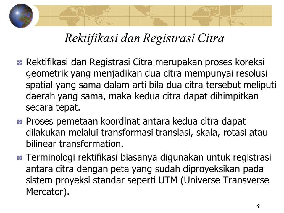9 Rektifikasi dan Registrasi Citra Rektifikasi dan Registrasi Citra merupakan proses koreksi geometrik yang menjadikan dua citra mempunyai resolusi sp