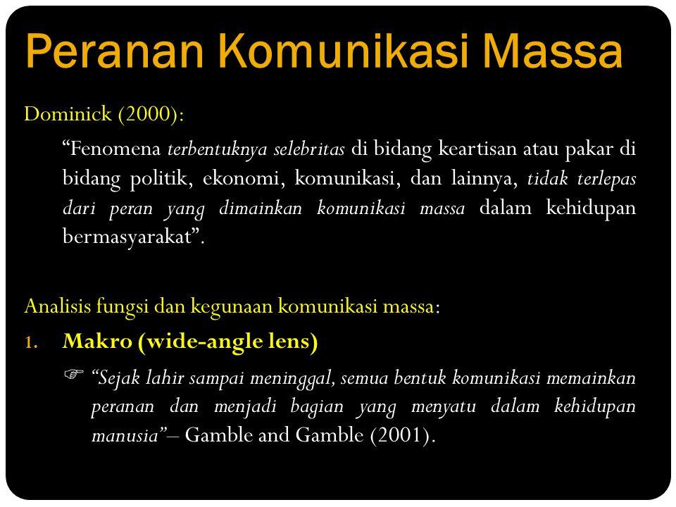 """Peranan Komunikasi Massa Dominick (2000): """"Fenomena terbentuknya selebritas di bidang keartisan atau pakar di bidang politik, ekonomi, komunikasi, dan"""