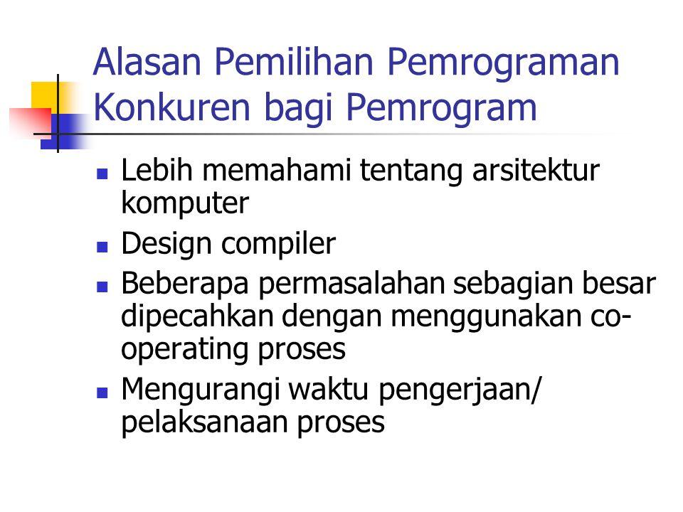 Alasan Pemilihan Pemrograman Konkuren bagi Pemrogram Lebih memahami tentang arsitektur komputer Design compiler Beberapa permasalahan sebagian besar d