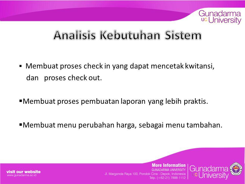  Membuat proses check in yang dapat mencetak kwitansi, dan proses check out.