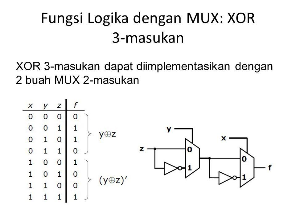 Fungsi Logika dengan MUX: XOR 3-masukan XOR 3-masukan dapat diimplementasikan dengan 2 buah MUX 2-masukan